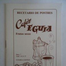 Livros antigos: LIBRITO DE RECETARIO DE POSTRES DE CAFES EGUIA DE VITORIA.. Lote 247938160