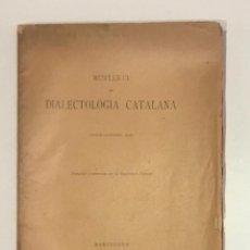 Libros antiguos: BUTLLETÍ DE DIALECTOLOGIA CATALANA. GENER-DESEMBRE 1926. VOCABULARI DE LA PESCA.ROIG, E; I AMADES, J. Lote 248207650