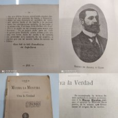 Libros antiguos: MUERA LA MENTIRA VIVA LA VERDAD SABINO ARANA GOIRI 1907 PNV NACIONALISMO PAIS VASCO BASQUE. Lote 248228635