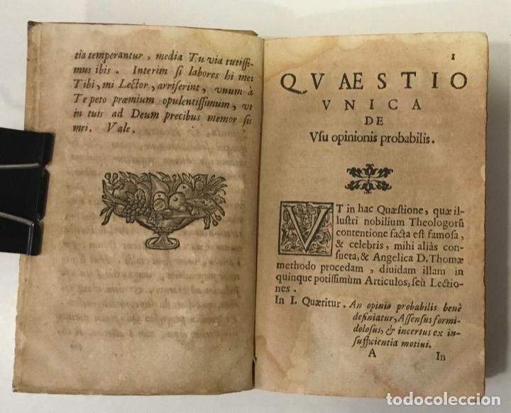Libros antiguos: DE RECTO USU OPINIONIS PROBABILIS QUAESTIO UNICA IN QUINQUE LECTIONES... - ANGELIS, Augustini de. - Foto 2 - 248468150