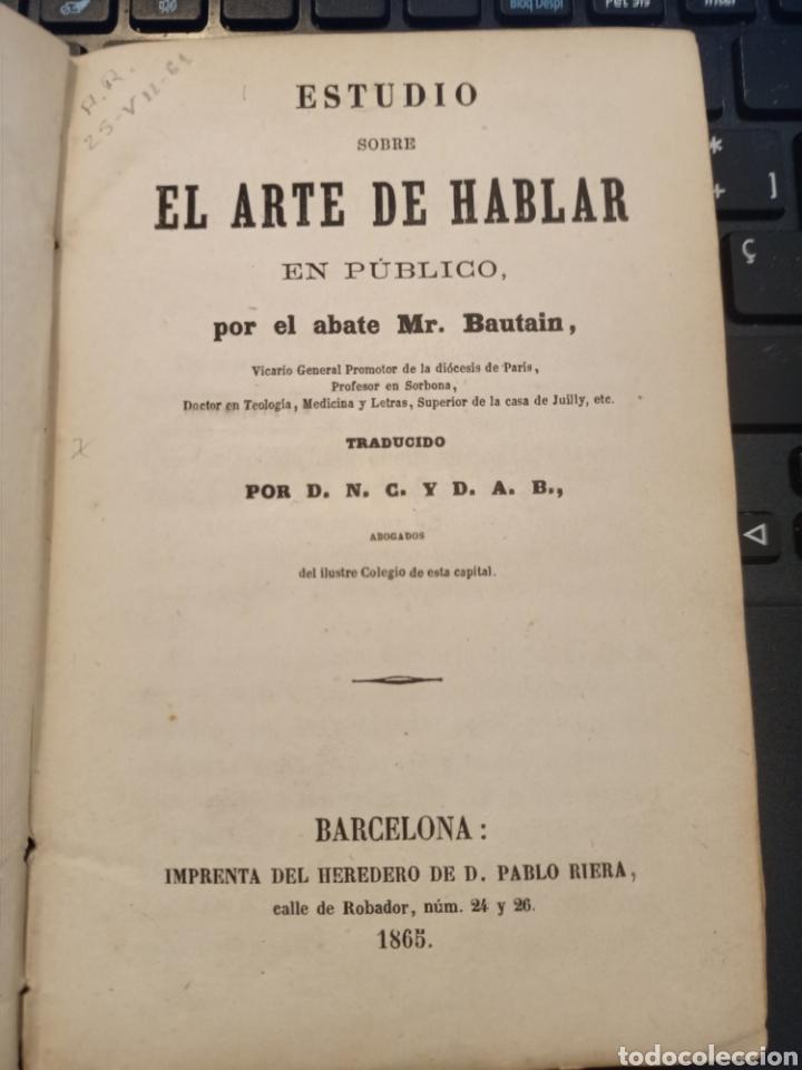 ESTUDIO SOBRE EL ARTE DE HABLAR EN PUBLICO ABATE MR BAUTAIN 1865 (Libros Antiguos, Raros y Curiosos - Ciencias, Manuales y Oficios - Otros)