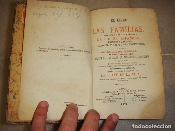 Libros antiguos: El libro de las familias. Manual de cocina española. 1870. + Novísimo manual de cocina americana. - Foto 3 - 249560370