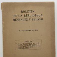 Libros antiguos: BOLETIN BIBLIOTECA MENENDEZ Y PELAYO Nº 3 1922 SANTANDER. INTONSO. LOMBA, OLMEDO, GIMPERA, ARTIGAS. Lote 251055125