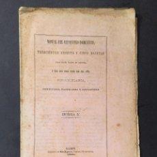 Livros antigos: AÑO 1866 - MANUAL DEL REPOSTERO DOMESTICO - COCINA - RECETAS - POSTRES - FLAN, BIZCOCHO, TARTA. Lote 251196115