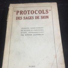 Libros antiguos: PROTOCOLS DES SAGES DE SION. ANONYME. EDITORIAL BERNARD GRASSET (1931) EN FRANCÉS. Lote 253223520