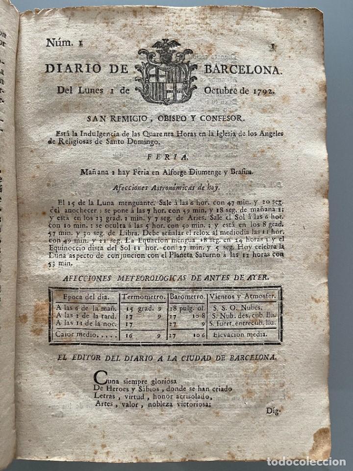 DIARIOS DE BARCELONA QUE COMPREHENDE LOS MESES DE OCTUBRE, NOVIEMBRE Y DICIEMBRE 1792 (92 DIARIOS) (Libros Antiguos, Raros y Curiosos - Bellas artes, ocio y coleccionismo - Otros)