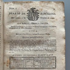 Libros antiguos: DIARIOS DE BARCELONA QUE COMPREHENDE LOS MESES DE OCTUBRE, NOVIEMBRE Y DICIEMBRE 1792 (92 DIARIOS). Lote 253633240