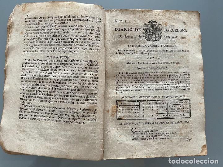 Libros antiguos: Diarios de Barcelona que comprehende los meses de Octubre, Noviembre y Diciembre 1792 (92 diarios) - Foto 11 - 253633240
