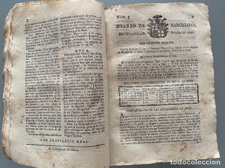 Libros antiguos: Diarios de Barcelona que comprehende los meses de Octubre, Noviembre y Diciembre 1792 (92 diarios) - Foto 12 - 253633240