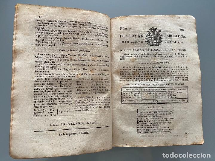 Libros antiguos: Diarios de Barcelona que comprehende los meses de Octubre, Noviembre y Diciembre 1792 (92 diarios) - Foto 14 - 253633240