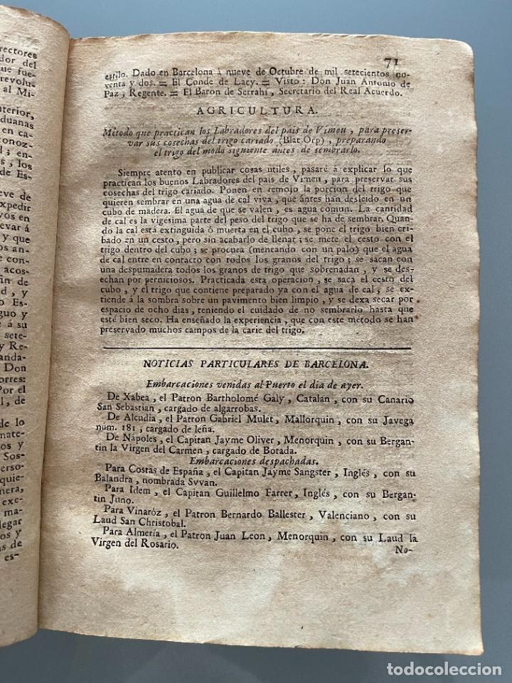 Libros antiguos: Diarios de Barcelona que comprehende los meses de Octubre, Noviembre y Diciembre 1792 (92 diarios) - Foto 16 - 253633240