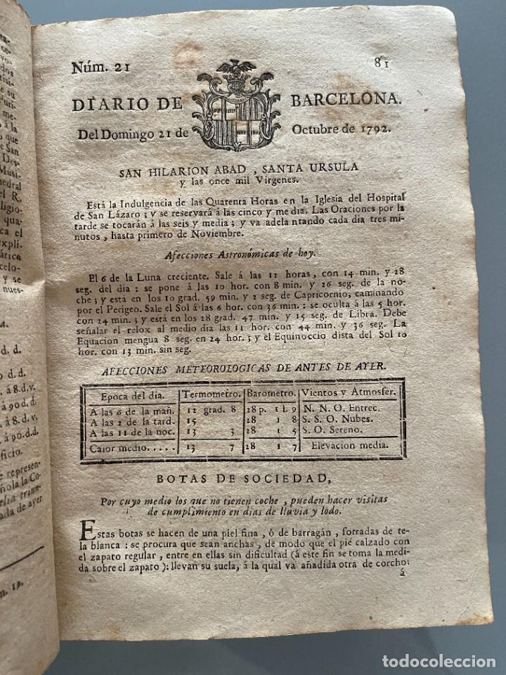 Libros antiguos: Diarios de Barcelona que comprehende los meses de Octubre, Noviembre y Diciembre 1792 (92 diarios) - Foto 17 - 253633240