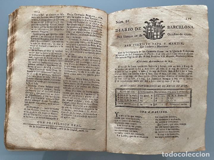 Libros antiguos: Diarios de Barcelona que comprehende los meses de Octubre, Noviembre y Diciembre 1792 (92 diarios) - Foto 18 - 253633240