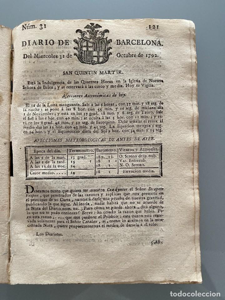 Libros antiguos: Diarios de Barcelona que comprehende los meses de Octubre, Noviembre y Diciembre 1792 (92 diarios) - Foto 20 - 253633240
