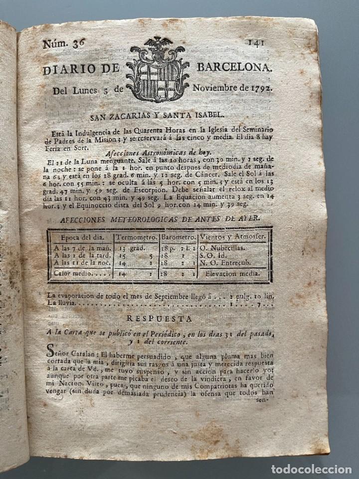 Libros antiguos: Diarios de Barcelona que comprehende los meses de Octubre, Noviembre y Diciembre 1792 (92 diarios) - Foto 22 - 253633240