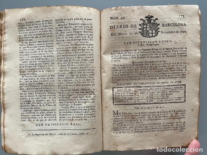 Libros antiguos: Diarios de Barcelona que comprehende los meses de Octubre, Noviembre y Diciembre 1792 (92 diarios) - Foto 23 - 253633240
