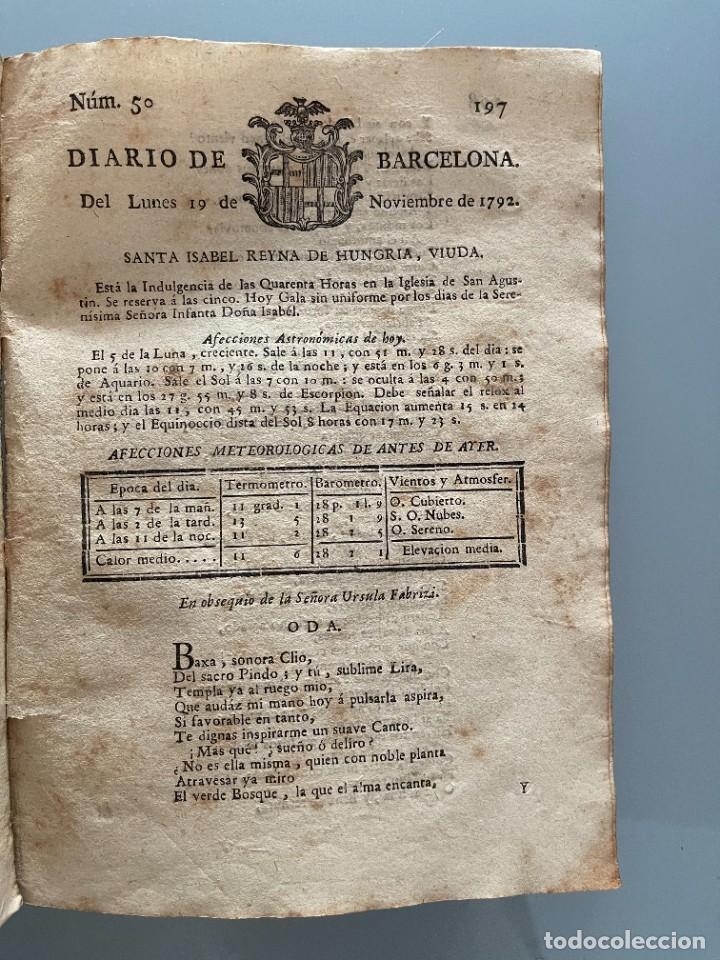 Libros antiguos: Diarios de Barcelona que comprehende los meses de Octubre, Noviembre y Diciembre 1792 (92 diarios) - Foto 25 - 253633240