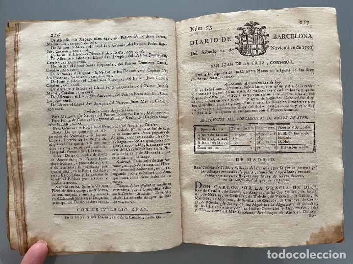 Libros antiguos: Diarios de Barcelona que comprehende los meses de Octubre, Noviembre y Diciembre 1792 (92 diarios) - Foto 26 - 253633240