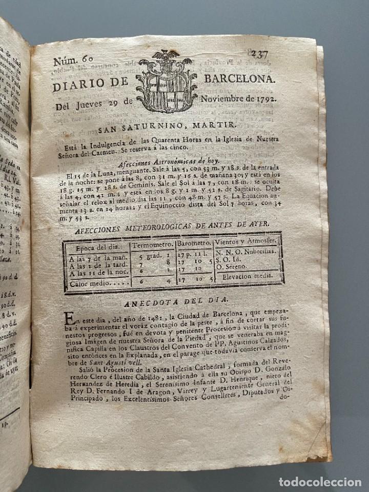 Libros antiguos: Diarios de Barcelona que comprehende los meses de Octubre, Noviembre y Diciembre 1792 (92 diarios) - Foto 27 - 253633240
