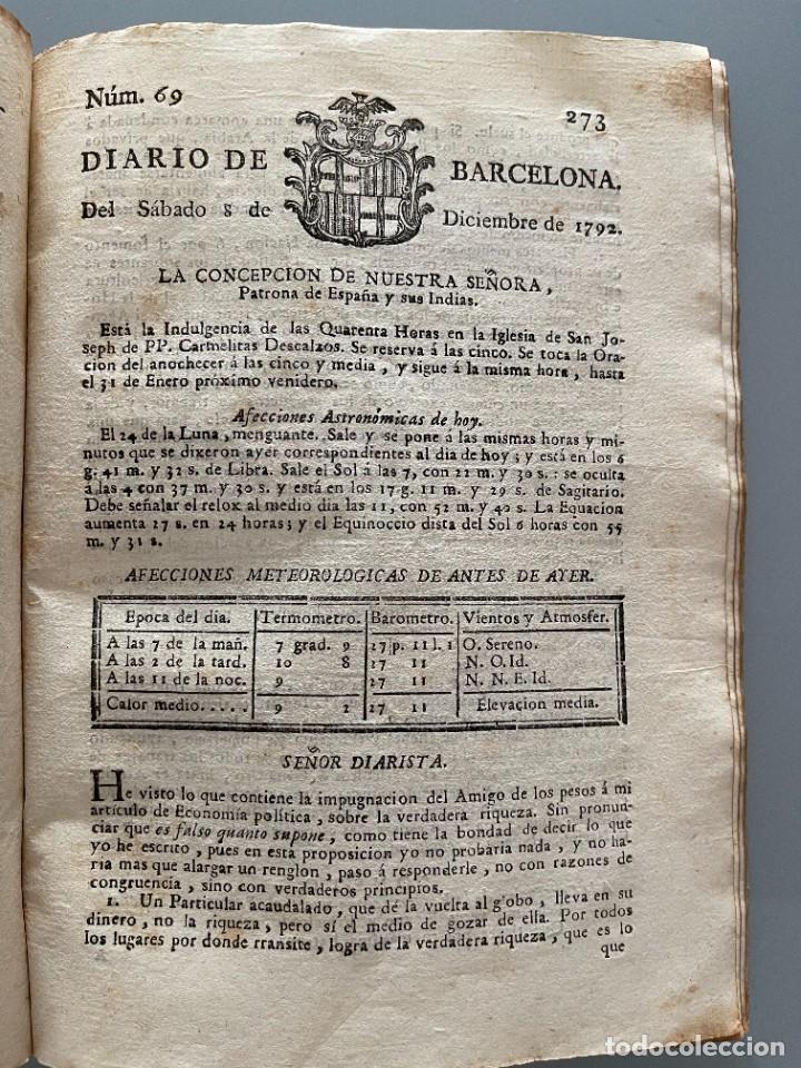 Libros antiguos: Diarios de Barcelona que comprehende los meses de Octubre, Noviembre y Diciembre 1792 (92 diarios) - Foto 30 - 253633240