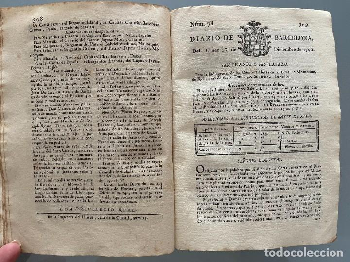 Libros antiguos: Diarios de Barcelona que comprehende los meses de Octubre, Noviembre y Diciembre 1792 (92 diarios) - Foto 33 - 253633240