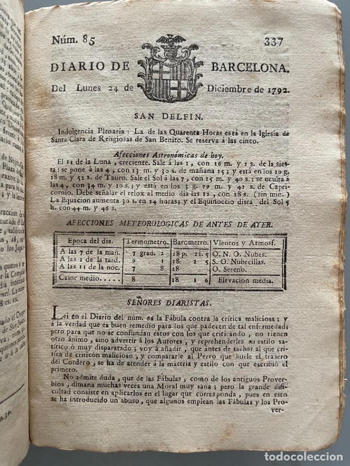 Libros antiguos: Diarios de Barcelona que comprehende los meses de Octubre, Noviembre y Diciembre 1792 (92 diarios) - Foto 34 - 253633240