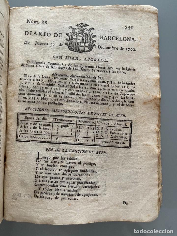 Libros antiguos: Diarios de Barcelona que comprehende los meses de Octubre, Noviembre y Diciembre 1792 (92 diarios) - Foto 35 - 253633240