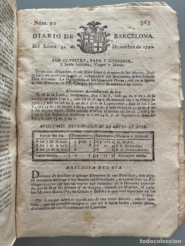 Libros antiguos: Diarios de Barcelona que comprehende los meses de Octubre, Noviembre y Diciembre 1792 (92 diarios) - Foto 36 - 253633240