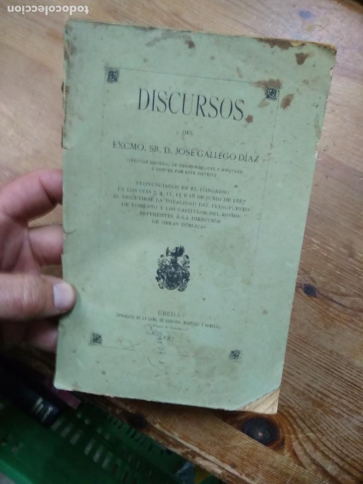 DISCURSOS DEL EXCMO. SR. D. JOSÉ GALLEGO DÍAZ. 1887. L.809-2187 (Libros Antiguos, Raros y Curiosos - Historia - Otros)