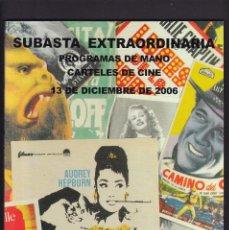 Libros antiguos: PROGRAMAS DE MANO DE CINE Y CARTELES - CATALOGO - SOLER Y LLACH / DICIEMBRE 2006. Lote 254603780