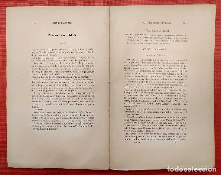 Libros antiguos: EN EL MINISTERIO DE ULTRAMAR. AÑO: 1888. VICTOR BALAGUER. COLONIAS ESPAÑOLAS. - Foto 4 - 254671325
