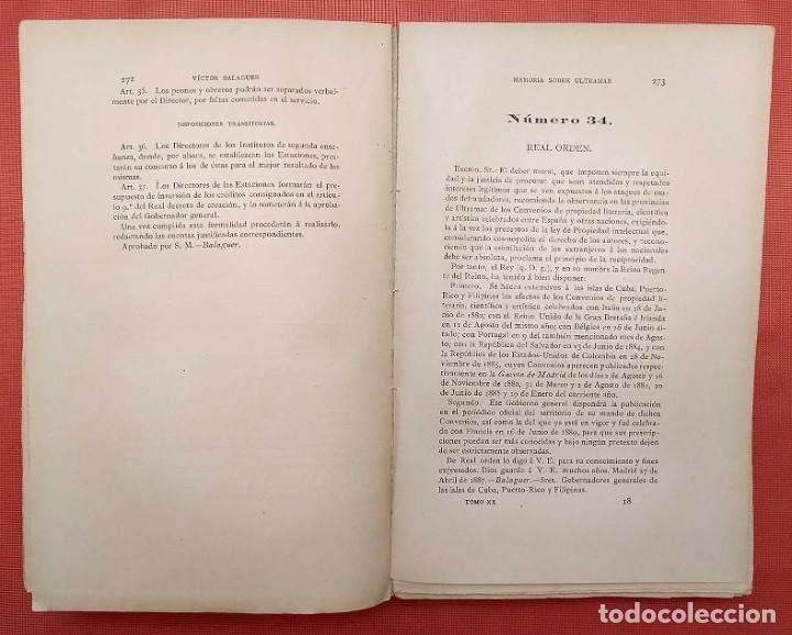 Libros antiguos: EN EL MINISTERIO DE ULTRAMAR. AÑO: 1888. VICTOR BALAGUER. COLONIAS ESPAÑOLAS. - Foto 5 - 254671325