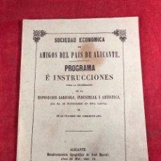 Livres anciens: SOCIEDAD ECONÓMICA DE AMIGOS DEL PAÍS DE ALICANTE. 1860. Lote 254684770