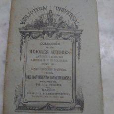 Libros antiguos: PRPM 39 CONTRADICCIONES POLITICAS.TEORIA DEL MOVIMIENTO CONSTITUCIONAL EN EL SIGLO XIX.P.J.PROUDHON.. Lote 256079415