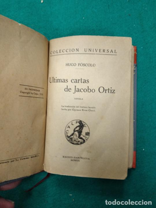 Libros antiguos: HUGO FOSCOLO. ULTIMAS CARTAS DE JACOBO ORTIZ. 1920. BELLA ENCUADERNACION EN MEDIA PIEL CON NERVIOS. - Foto 3 - 257400870
