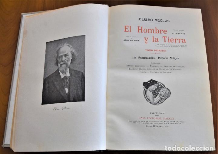 Libros antiguos: EL HOMBRE Y LA TIERRA - ELISEO RECLUS - CASA EDITORIAL MAUCCI, BARCELONA - 6 TOMOS COMPLETA - Foto 4 - 257650475
