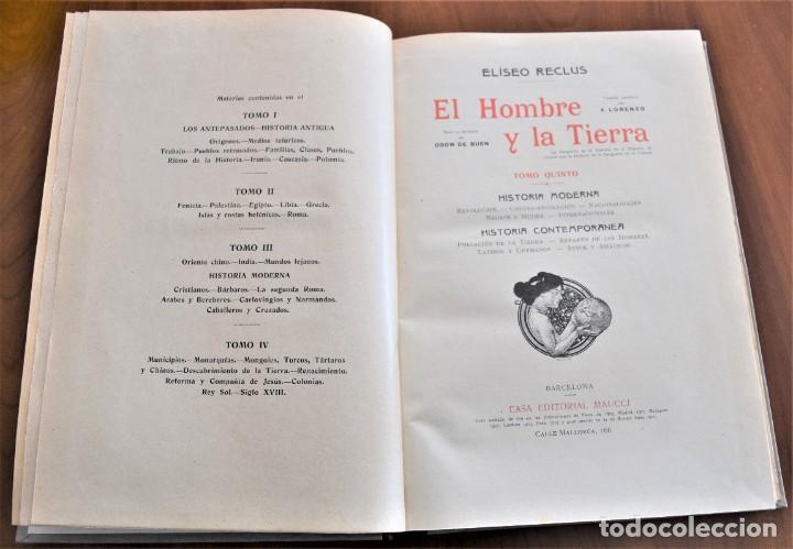 Libros antiguos: EL HOMBRE Y LA TIERRA - ELISEO RECLUS - CASA EDITORIAL MAUCCI, BARCELONA - 6 TOMOS COMPLETA - Foto 26 - 257650475