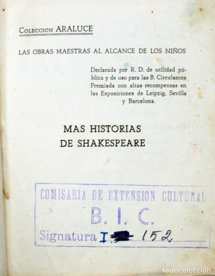 Libros antiguos: Colección Araluce. Historias de Moliere y mas historias de Shakespeare.1914 y 1956 - Foto 4 - 259901455