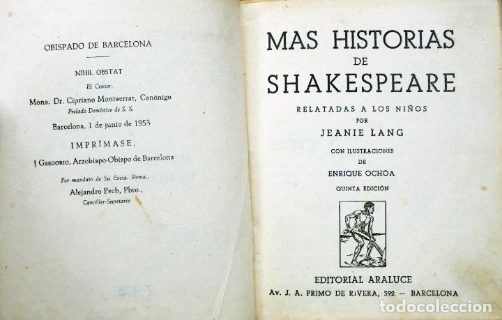 Libros antiguos: Colección Araluce. Historias de Moliere y mas historias de Shakespeare.1914 y 1956 - Foto 5 - 259901455