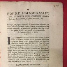 Libros antiguos: ASSENSIUS SALES DEI ET SANCTAE. BARCINONENSIS. BARCHINON EPISCOPO 1757. Lote 261813830