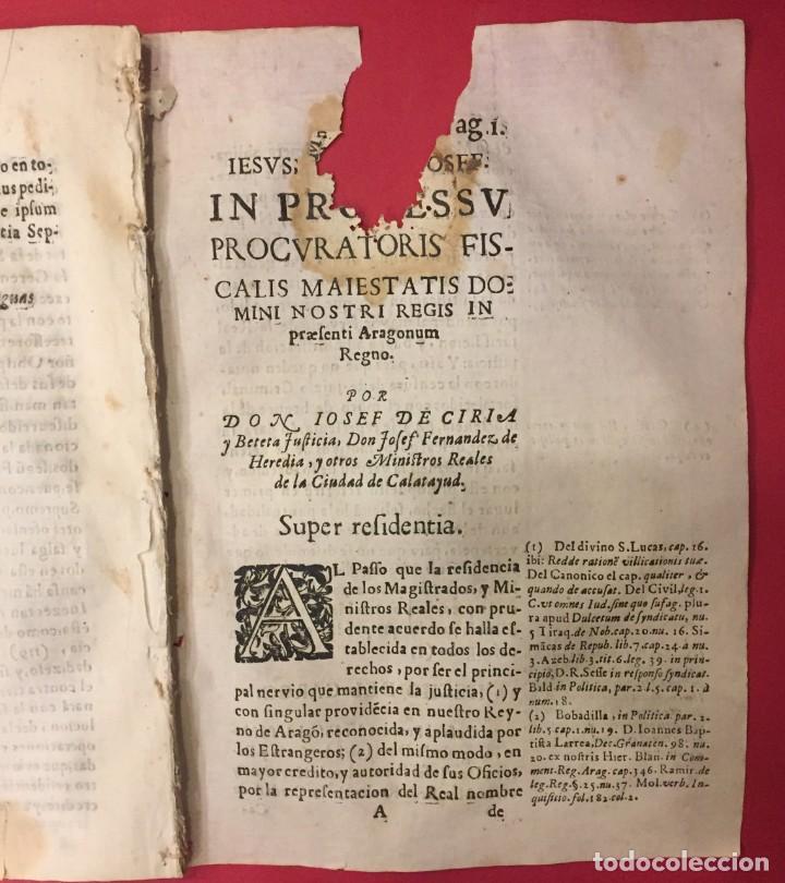 ARAGON 1675 D. JOSE DE CIRIA Y BETETA. JOSE FERNANDEZ DE HEREDIA DE CALATAYUD, PROCURATORIS FISCALIS (Libros Antiguos, Raros y Curiosos - Historia - Otros)