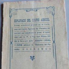 Libros antiguos: PENEDES. J. CAÑAS. EXPLOTACIO CULTIU AGRICOL. VILAFRANCA, 1907, 39P. DEDICATORIA AUTOGRAFA. Lote 261856520
