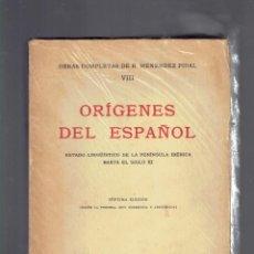 Libros antiguos: OBRAS COMPLETAS DE R.MENENDEZ PIDAL VIII ORIGENES DEL ESPAÑOL SEPTIMA EDICION 1972 ESPASA-CALPE. Lote 262656460