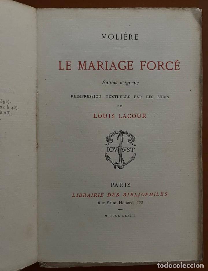 MOLIERE LE MARIAGE FORCÉ. LUIS LACOUR 1873 (Libros Antiguos, Raros y Curiosos - Literatura - Otros)