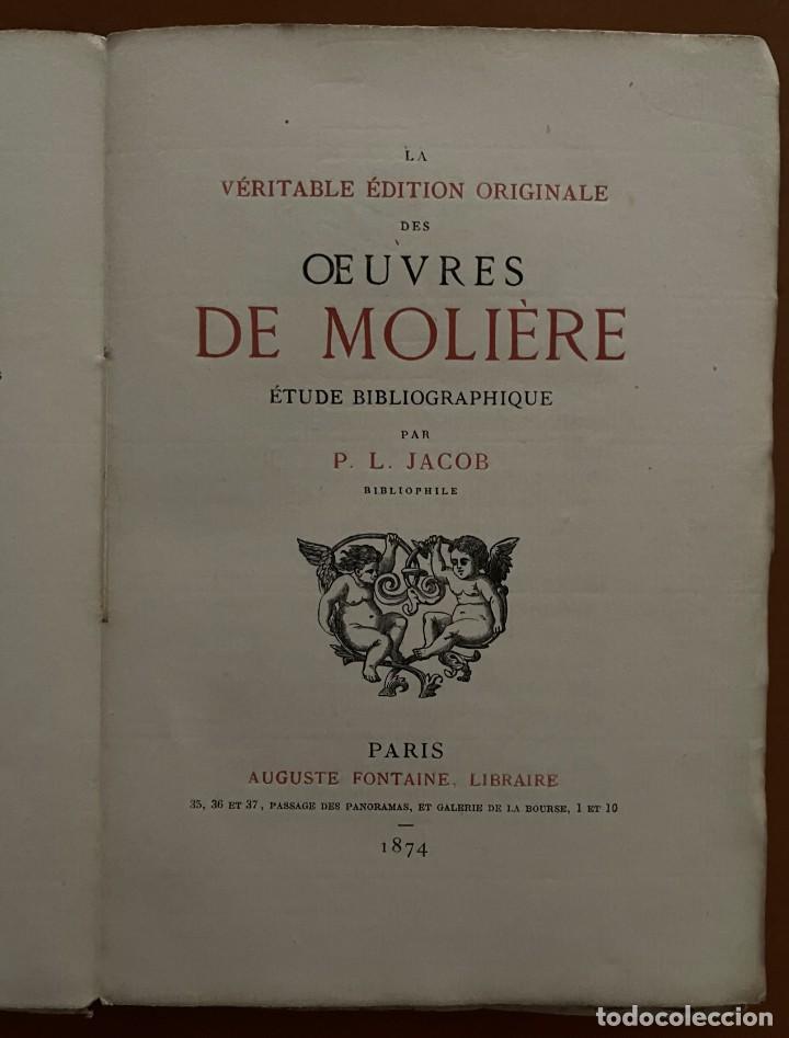 OEVVRES DE MOLIERE. P.L. JACOB, 1874 (Libros Antiguos, Raros y Curiosos - Literatura - Otros)