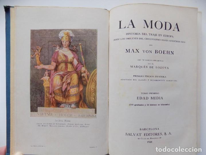 LIBRERIA GHOTICA. MAX VON BOEHN.LA MODA.HISTORIA DEL TRAJE EN EUROPA .EDAD MEDIA.1928.MUY ILUSTRADO. (Libros Antiguos, Raros y Curiosos - Bellas artes, ocio y coleccionismo - Otros)