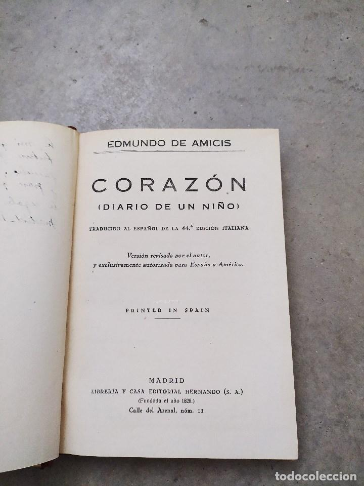 Libros antiguos: CORAZÓN. DIARIO DE UN NIÑO. EDMUNDO DE AMICIS. LIBRERÍA Y CASA EDITORIAL HERNANDO. - Foto 5 - 263103125