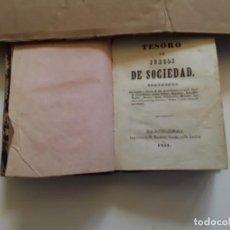 Libros antiguos: TESORO DE JUEGOS DE SOCIEDAD. BARCELONA, MANUEL SAURI, CALLE ANCHA 1851. Lote 263683835