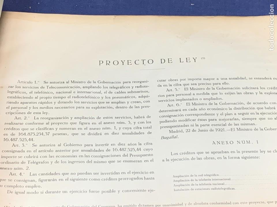 Libros antiguos: INICIO TELEFONIA LIBRO PROYECTO LEY AMPLIAR TELECOMUNICACIONES ESPAÑA 1921 ALFONSO XIII 26X39CMS - Foto 9 - 264160348
