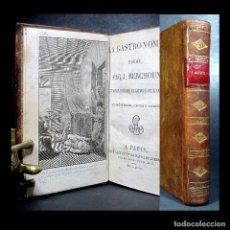 """Libros antiguos: AÑO 1805 PRIMERA APARICIÓN DEL TÉRMINO """"GASTRONOMÍA"""" TIRADA ESPECIAL OBRA RARA BERCHOUX GRABADO. Lote 264174280"""